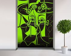 Picasso - Green mural wallpaper room setting