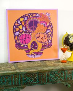 Peace Hippie Skull Canvas Art from Earthbound Trading Co.