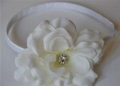 For Madi? Flower Girl Wedding Headband  Girl Toddler by littlehamptons, $13.50