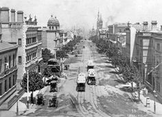 Historic Photo of the Day - Collins Street, Melbourne ~ 1888, looking west from Spring Street.Grosvenor Chambers at 9 Collins Street was Australia's first custom built complex of artist's studios, still under construction in the photo below. Love the twin domed towers of the old Masonic Temple on the left as well, demolished to make way for Collins Place.