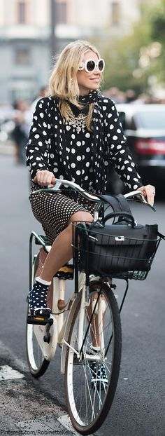 Prada shades, Polka dots, Black and white, Mulberry bag, The bicycle....Oh the life!...x