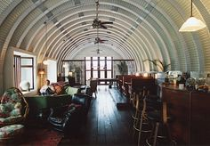 Interior of a Quonset hut. Monkey Bar in Fox Studios, Mexico features set pieces from the movie Titanic.