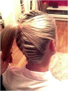French Braid In Back and On Top with A Ponytail In Back Short Hair Styles Easy, Short Hair Updo, Edgy Updo, Updos, Easy Diy, Dreadlocks, Short Haircuts, Hair Dos, Dreads