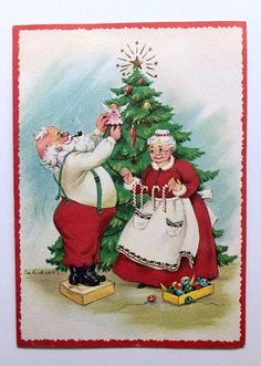 Vintage Eve Rockwell Card Santa Mrs Claus Christmas Tree Angel Candy Gold Star