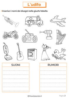 Esercizio sull'udito 2 Primary School, Elementary Schools, Bucket Drumming, Therapy Worksheets, Italian Language, Music Classroom, Music Notes, Preschool Activities, Kids Learning