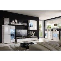 Wohnwand mit Sideboard weiss hochglanz/ Casablanca Eiche Woody 16-00282