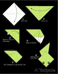 fácil crianças Easy Origami For Kids.: Tadpole Easy Origami For Kids. Origami Simple, Easy Origami Flower, Easy Origami For Kids, Origami 3d, Paper Crafts Origami, Origami Flowers, Diy For Kids, Origami Instructions, Origami Tutorial