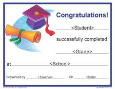 Printable Graduation Certificate | Customizable End of Year Awards for Students - TeacherVision.com