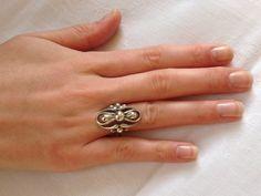 Zilveren vintage ring uit dle jaren 70.