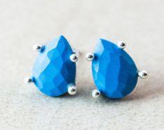 Blue Turquoise Stud Earrings - Birthstone Earrings - Teardrop, Pear Shape