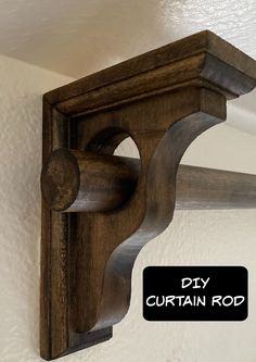 Step by step tutorial Wooden Curtain Rods, Cheap Curtain Rods, Cheap Curtains, Diy Curtains, Hanging Curtains, Curtain Rod Brackets, Curtain Rod Holders, Handmade Furniture, Painted Furniture