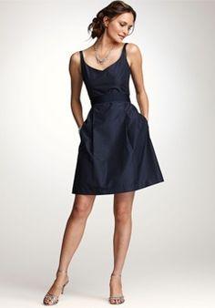 Silk Taffeta V-Neck Bridesmaid Dress