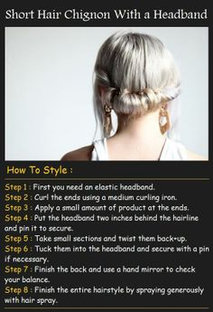 Short Hair Chignon With a Headband Tutorial  for bridesmaids - apparently works with fairly short hair