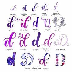 handlettering inspiration letter d variations - Handlettering - Alphabet - Typography Hand Lettering Tutorial, Hand Lettering Alphabet, Doodle Lettering, Creative Lettering, Lettering Styles, Calligraphy Letters, Brush Lettering, Calligraphy Alphabet Tutorial, Graffiti Alphabet