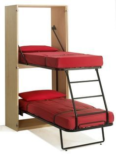 Murphy Bunk Beds ~ 11 Space Saving Fold Down Beds for Small Spaces, Furniture Design Ideas. Great way to add kid beds in our travel trailer! Small Room Furniture, Small Room Decor, Space Saving Furniture, Furniture Design, Furniture Ideas, Folding Furniture, Modern Furniture, Multifunctional Furniture Small Spaces, Pipe Furniture
