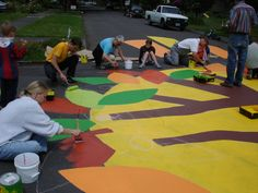 Public painting... freestyle or giant color by number project?