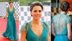 Omg, LA robe dont j'ai toujours rêvé! Kate Middleton a choisi une robe turquoise avec dos en dentelle signé Jenny Packham (Robes et accessoires de couleur turquoise, aqua et vert menthe)