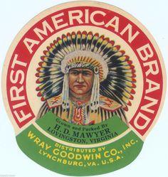 AMERICAN INDIAN CRATE CAN PRODUCT LABEL ADVERTISING WAR WAR BONNET VIRGINIA | Collectibles, Advertising, Merchandise & Memorabilia | eBay!