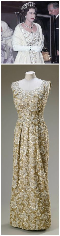 Evening dress, by Sir Norman Hartnell, 1961. Lace and lamé embroidered with pearls, sequins, diamanté and metal thread. Royal Collection Trust/All Rights Reserved. Worn by H.M. Queen Elizabeth II to the Royal Film Performance of West Side Story, 1962 (see above photo, © Popperfoto/Getty Images).