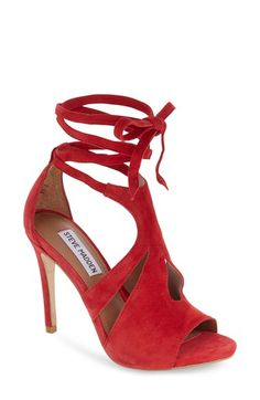 aca5092581db Steve Madden  Sashy  Wraparound Ankle Tie Sandal (Women) Red Suede Shoes