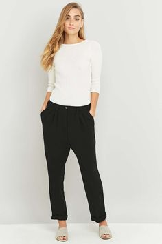 Shop Light Before Dark Slouchy Tailored Black Trousers at Urban Outfitters today. Black Trousers, Tailored Trousers, Urban Outfitters, Elegant, Woven Fabric, Elastic Waist, Wide Leg, Harem Pants, Legs