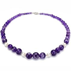 "4-16mm Graduated Purple Amethyst Gemstones and 8-9mm White Cultured Freshwater Pearl Necklace 18"" Length with 3mm Sterling Silver Beads and Filigree Clasp. - http://fashion.designerjewelrygalleria.com/necklaces-2/gemstone-necklaces/4-16mm-graduated-purple-amethyst-gemstones-and-8-9mm-white-cultured-freshwater-pearl-necklace-18-length-with-3mm-sterling-silver-beads-and-filigree-clasp/"