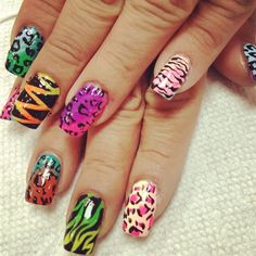 rainbow leopard and zebea print by zitianzhang - Nail Art Gallery nailartgallery.nailsmag.com by Nails Magazine www.nailsmag.com #nailart