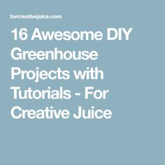 16 Awesome DIY Greenhouse Projects with Tutorials - For Creative Juice