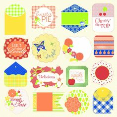 Jinger Adams - Sweet Tart Collection - 12 x 12 Perforated Paper with Glitter Accents - Tags at Scrapbook.com