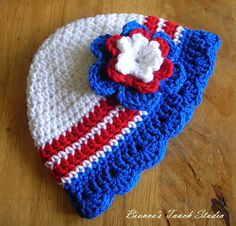 Baby Crochet Flower Hat Patriotic 4th of July by biancastouch, $3.60