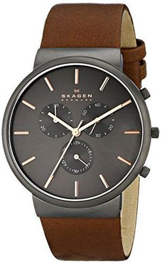 """Skagen Men's SKW6106 """"Ancher"""" Stainless Steel Watch with Brown Leather Band"""