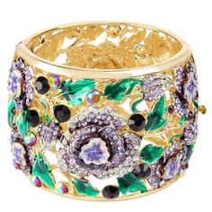 EVER FAITH Gold-Tone Austrian Crystal Enamel Feast Rose Flower Leaf Bangle Bracelet Purple -- Find out more details by clicking the image : Jewelry Bracelets