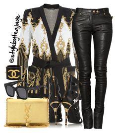 Untitled #2499 by stylebyteajaye on Polyvore featuring polyvore moda style Balmain Yves Saint Laurent Chanel CÉLINE fashion clothing