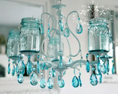 Vintage Mason Jar ChandelierAqua CrystalsMade To by Shabbyfufu