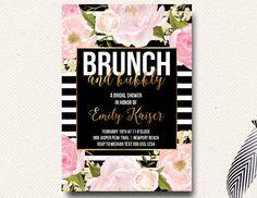 Bubbly and Brunch Bridal Shower Invitation Blush by DesignOnPaper