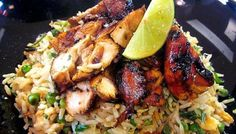 BBC - Food - Recipes : Lemon and lime chicken with coriander-fried rice Rice Recipes, Chicken Recipes, Cooking Recipes, Healthy Recipes, Recipies, Chicken Meals, Lamb Recipes, Yummy Recipes, Dinner Recipes