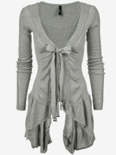 Light Grey Long Tie Cardigan