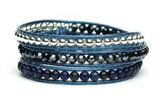 NEW!!    Metallic Blue Triple Wrap Bracelet from Boho Betty  #BohoBetty #Wrap