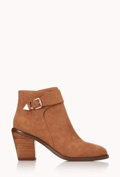 Modernist Faux Suede Booties