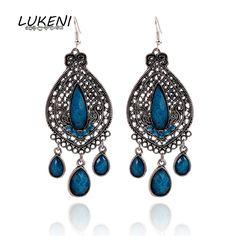 LUKENI 2017 Fashion Jewelry Water Drop Vintage Hollow Crystal Long Dangle Earrings  Rhinestone Carved Wedding Earrings DE006