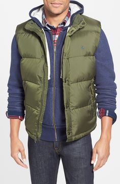 Men's weekend wear | Green down & feather fill puffer vest.
