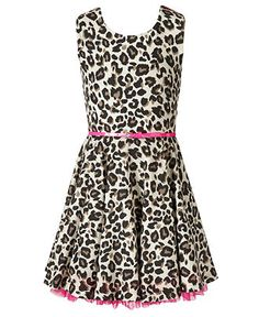 Beautees Dress, Girls Belted Animal-Print A-Line - Kids Girls 7-16 - Macy's