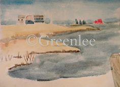 Dock Road, watercolor on paper