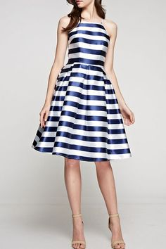 Striped Flared Dress Navy and White