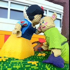 Snow white made out of Lego blocks at Downtown Disney.