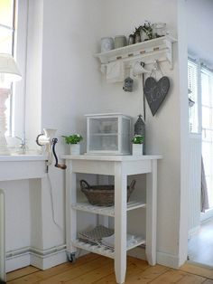 Snack Area, Kitchen. White, Grey, Black, Chippy, Shabby Chic, Whitewashed, Cottage, French Country, Rustic, Swedish decor Idea. ***Pinned by oldattic***