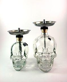 LARGE 1.75 L Skull Head Glass Bottle Shisha Hookah With Mini Skull Bottle Hose, Tray, and Bowl