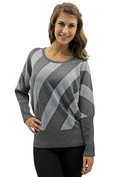 Bold Diagonal Stripe Long Sleeve Sweater