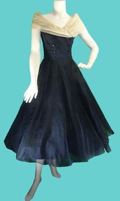 1950's Vintage chiffon Navy off the shoulder party dress