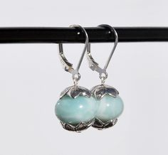 Sterling Silver and Amazonite Earrings with Sterling Silver bead caps, leverback earring, leverback amazonite earrings, sterling leverback by KarmaKittyJewelry on Etsy